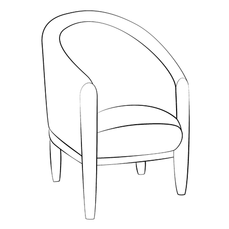 Black outline vector chair on white background. Illustration