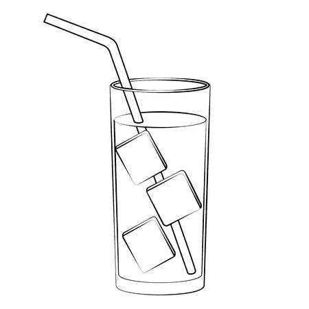 tonic: Black outline vector cold water on white background. Illustration