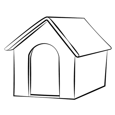 white: Outline sketch dog house vector illustration.