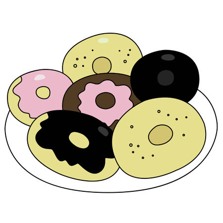 Black outline vector donut on white background. Illustration