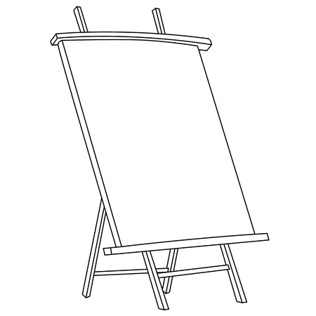 Black outline vector easel painting on white background. Vector