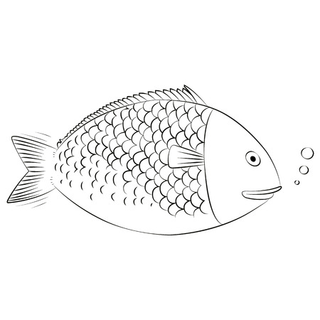Vector stylized image of sea-fish on white background. Vector