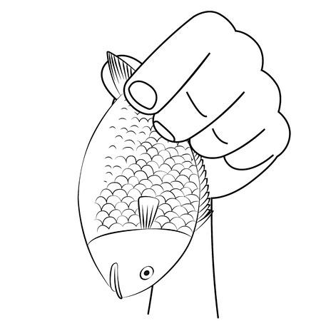 seafish: Vector stylized image of sea-fish on white background. Illustration