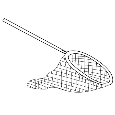 Black outline vector fishing net on white background.