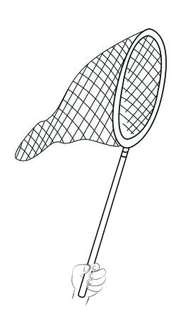 Black outline vector fishing net on white background. Vector