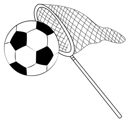 Black outline vector fishing net and football on white background. Vector