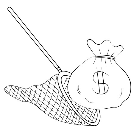 Black outline vector fishing net and money on white background. Vector