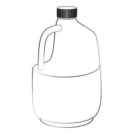 gal�n: Contorno negro botellas de gal�n del vector en fondo blanco.