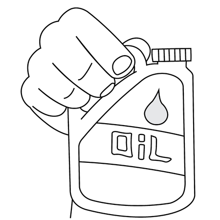 Black outline vector gallon fuel tank on white background. Vector