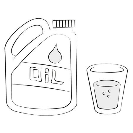 Black outline vector Glass and bottle of oil on white background. Illustration