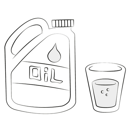 Black outline vector Glass and bottle of oil on white background. Vector