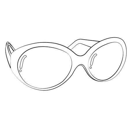 opthalmology: Black outline vector glasses on white background. Illustration