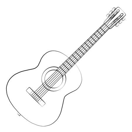 Zwarte omtrek vector gitaar op een witte achtergrond. Stock Illustratie