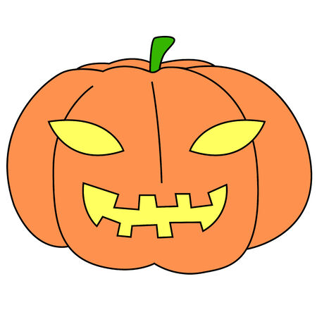 Black outline vector halloween pumpkin on white background. Vector