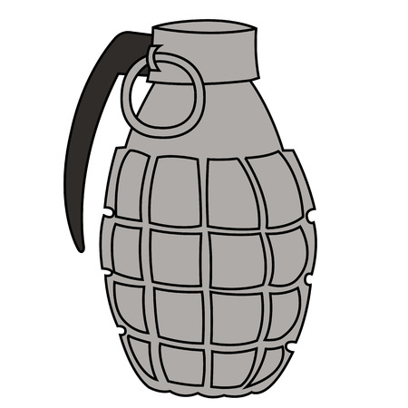 Black outline vector hand grenade on white background. Vector