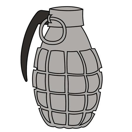 shrapnel: Black outline vector hand grenade on white background.