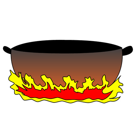 Black outline vector heat a frying pan on white background. Vector