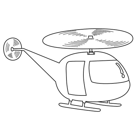 Black outline vector helicopterl on white background. Vector