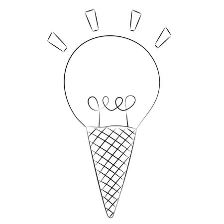 Black outline vector ice cream and light bulb on white background.
