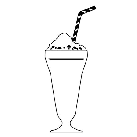 Black outline vector ice cream on white background.