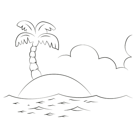 Tropical sea island with coconut trees, Vector on white background. Vector