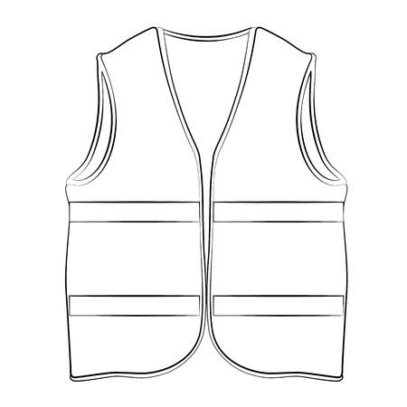 Schwarz Umrißvektor Schwimmweste auf weißem Hintergrund.