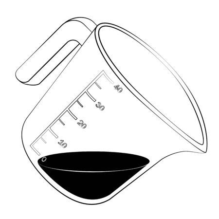 Zwarte omtrek vector maatbeker op een witte achtergrond. Stock Illustratie