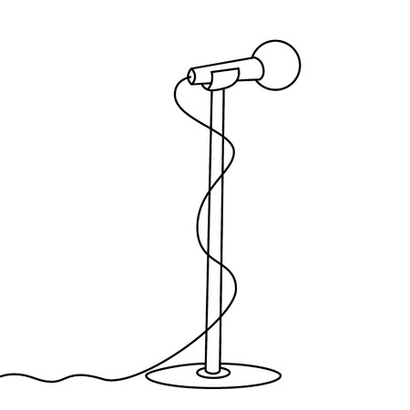 Black outline vector microphone and stand on white background. Vector