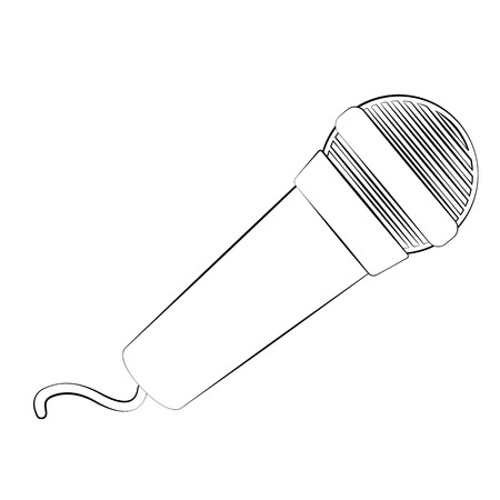 Black outline vector microphone on white background. Vector