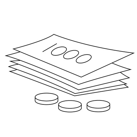 Black outline vector money on white background. Фото со стока - 25304916