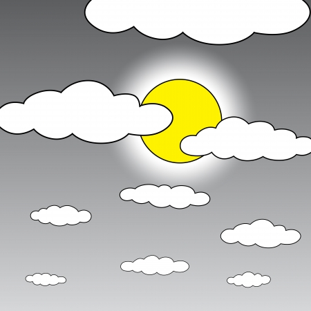 Black outline vector moon and cloud on white background. Vector
