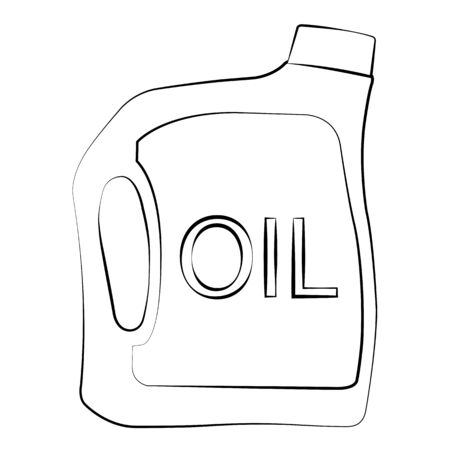Black outline vector oil bottle on white background. Vector