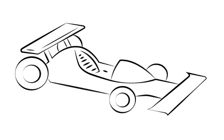 Black outline vector racing car on white background. Vector