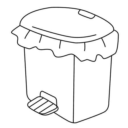 dispose: Outline of garbage can or recycle bin on white background.