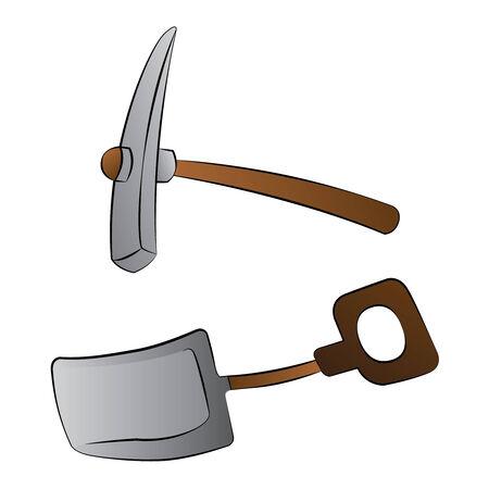 mattock: Black outline vector shovel and mattock on white background. Illustration