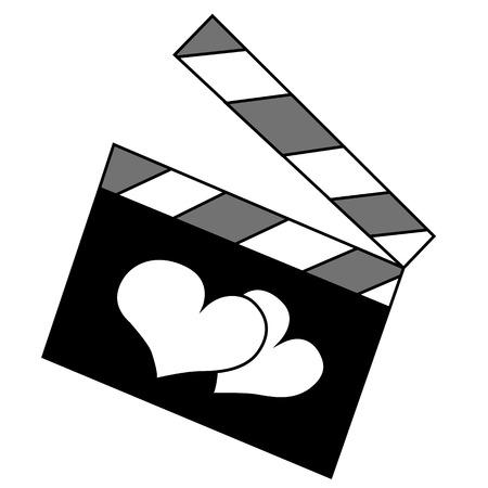 Black outline vector slate film of love on white background. Vector