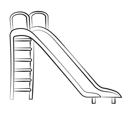 recess: Black outline vector slide on white background. Illustration