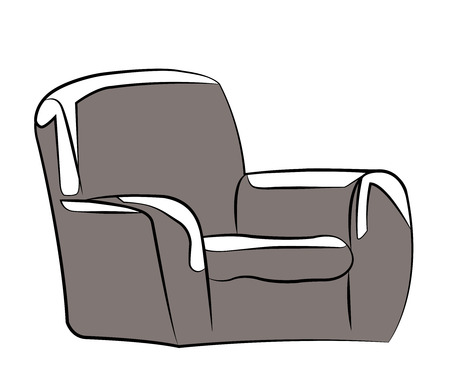 Sofa. freehand drawing. icon black and white vector illustration.