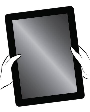 Black outline vector tablet on white background. Vector