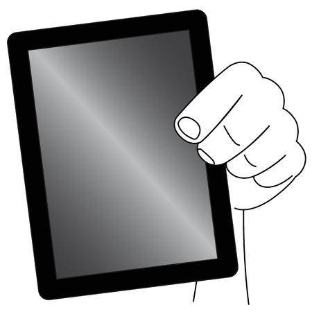 Black outline vector tablet on white background.