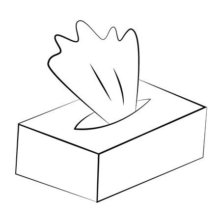 utiles de aseo personal: Tejidos esquema vector negro sobre fondo blanco.