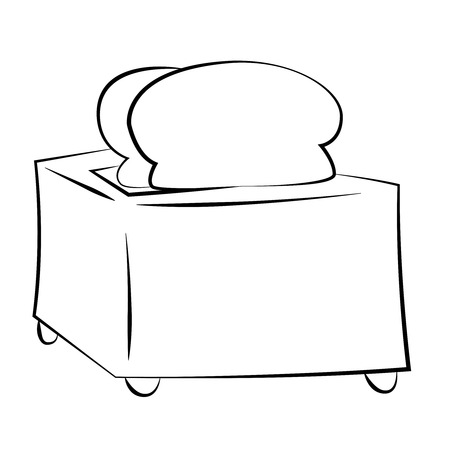 Black outline vector toaster on white background. Vector