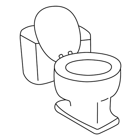 flush toilet: Black outline vector flush toilet on white background.