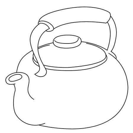 Zwarte omtrek vector ketel op een witte achtergrond. Stock Illustratie