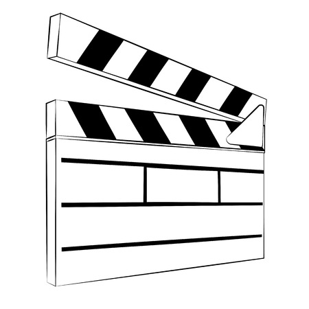 slate film: Black outline vector slate film of love on white background. Illustration