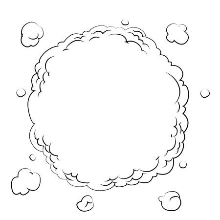 airwaves: Black outline vector smoke on white background. Illustration