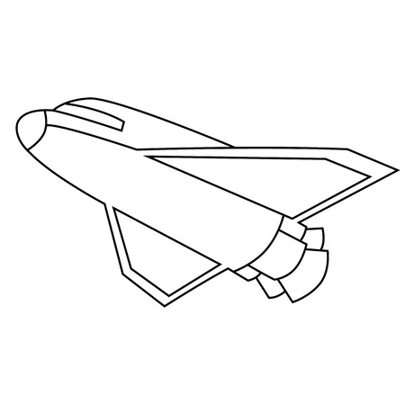 Black outline vector spacecraft on white background. Vector