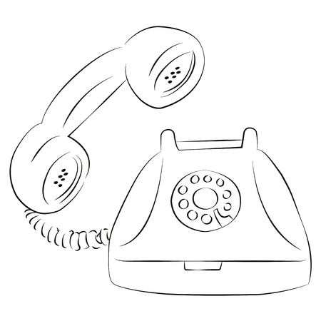 telephone cartoon: Cartoon vector outline illustration telephone ringing old-fashioned with receiver, isolated Illustration