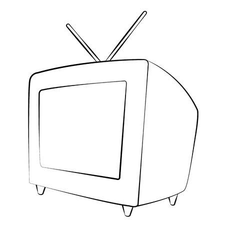 Black outline vector television on white background. Vector
