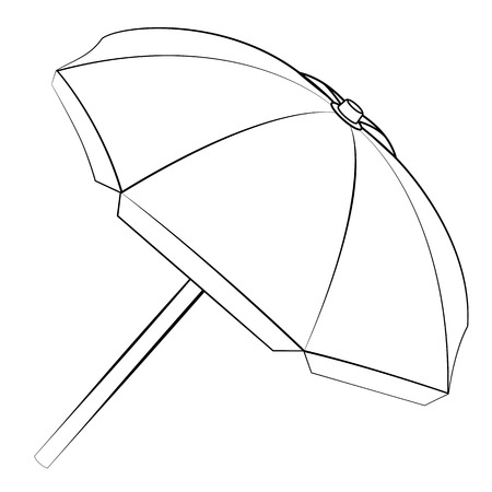 Black outline vector umbrella on white background.